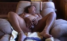 Old fat granny on chair masturbate her pussy
