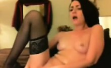 Sexy brunette masturbates and toys her pussy