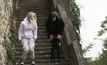 Girlfriends taking off pants to piss in public