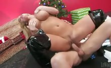 Blonde dressed in Christmas close gets fucked after gifts