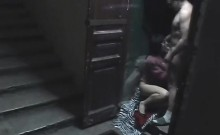 Staircase security cam catpures wife fucking