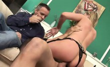 Busty blonde gets her wet pussy pummeled