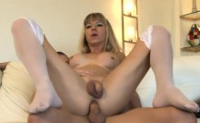 Big titted blonde shemale Franchezka gets her anal smashed