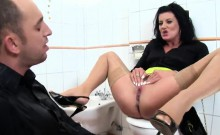Speechless beauty in lingerie is geeting peed on and poked