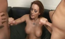 Monica Mayhem plays with two rock hard cocks at the same