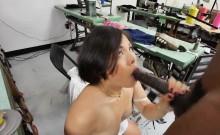 Asian Cutie Swallows Gigantic Black Cock