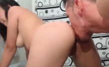 Brunette try her first time anal with his bf