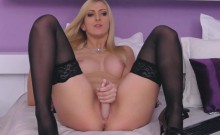 Stocking Blonde On High Heels Fucks Dildo