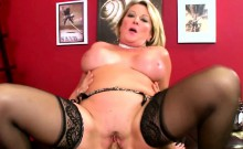 Ripe Chubby Blonde In Black Stockings