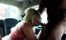 Female taxi driver with huge boobs sucks big dick