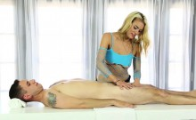 Nasty Blonde Masseuse Blowjobs Hard Cock Under The Table
