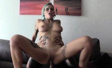 Slim tattooed blonde rides fake cops big cock