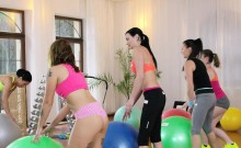 Blonde and ebony licking fitness coach in threesome