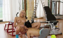 Asian fitness coach fingering fit blonde babe