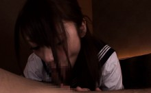 Japanese sailor teen cocksucking until facial