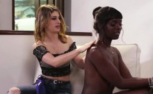 Ebony Ana Foxxx licks Kristen Scotts pussy and facerides her
