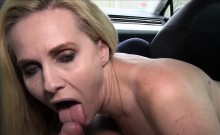 Blonde Milf bangs in car in public