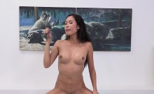 Striking girl is peeing and finger fucking smooth kitty