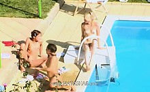 Three Chicks Secret Copulate By The Pool