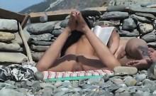 Voyeur Films Busty Brunette Girl At The Beach