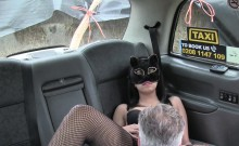 Masked Babe In Fishnets Bangs In Fake Cab