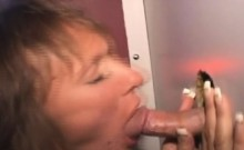 Aging Brunette Amateur Taking Faical Through Glory Hole