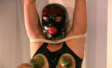 Stripped woman gets the tits ravished in breast torture show