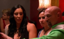 Bald fella is amazed by the wetness of her cunt