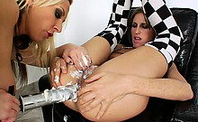 Blonde lesbo babe receives cream squirt