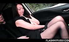 Nympho Asian brunette flaunting huge tits gets cunt rubbed