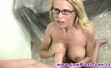 Blonde busty MILF jerks hard for jizz