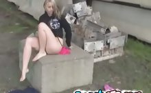 Sexy french teenie gets naked and outdoor masturbation