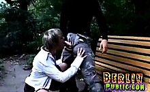 Horny couple fucks public in park