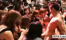 Subtitled CFNM Japanese massive handjob blowjob event