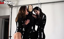 Two kinky latex babes love playing with girls