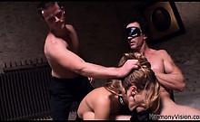 Naughty slut sucking of a horny blindfolded stud