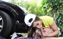 Hitchhiker teen London Smith fucked and jizzed in public