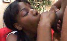 Petite Ebony Cheerleader Blowjob