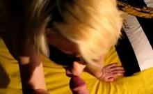 Blond wife sucks and gets butt cummed