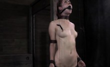 Bounded female slave drewls while getting tortured