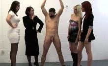 Bound man gets handjob from naughty CFNM women