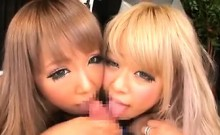 Two Asian Girls With One Cock In A Threesome