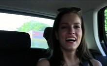 Lesbian girlfriends lick on the backseat