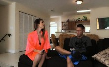 Cheerleader horny threesome with stepmom