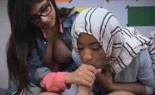 Sexy Mia Khalifa licking meaty cock
