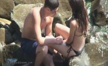 Spying camera films wild beach hookup