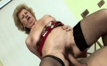 Slutty granny is insatiable of cock