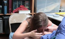 Teen thief Brooke Bliss bangs with the officer