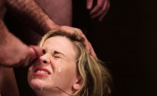 Horny sex kitten gets jizz shot on her face swallowing all t