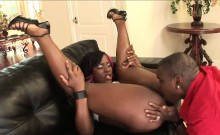 Voluptuous ebony minx receives an anal plowing